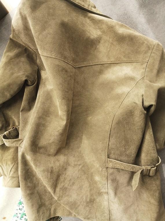Oversized Suede Jacket / Green Leather Blazer / G… - image 8