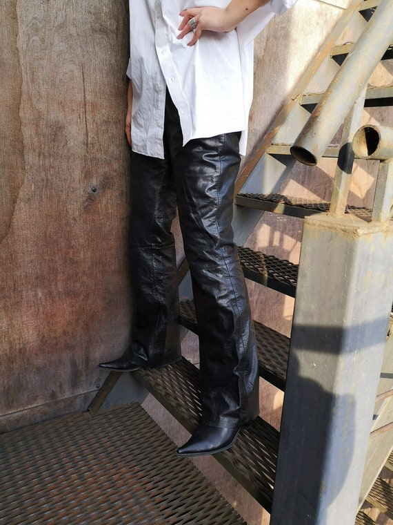 90's Leather Pants / Real Leather Pants / Black L… - image 5