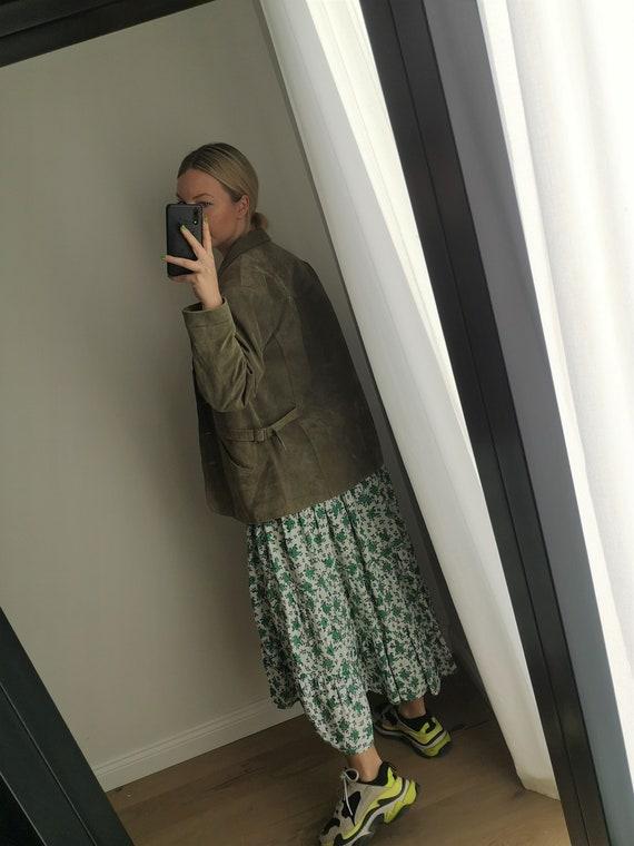 Oversized Suede Jacket / Green Leather Blazer / G… - image 3
