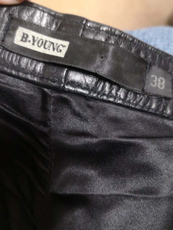 90's Leather Pants / Real Leather Pants / Black L… - image 6