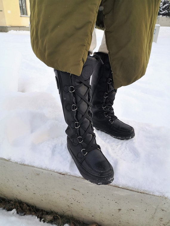 Long Leather Boots / Black Leather Boots / Nordic