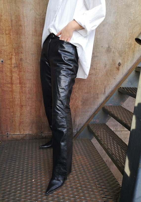 90's Leather Pants / Real Leather Pants / Black L… - image 3