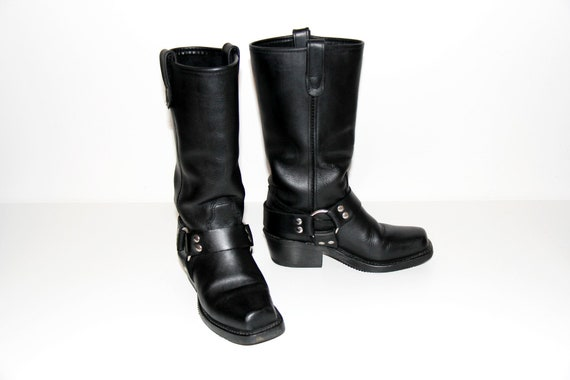Black Harness Boots / Biker Boots / Real Leather M