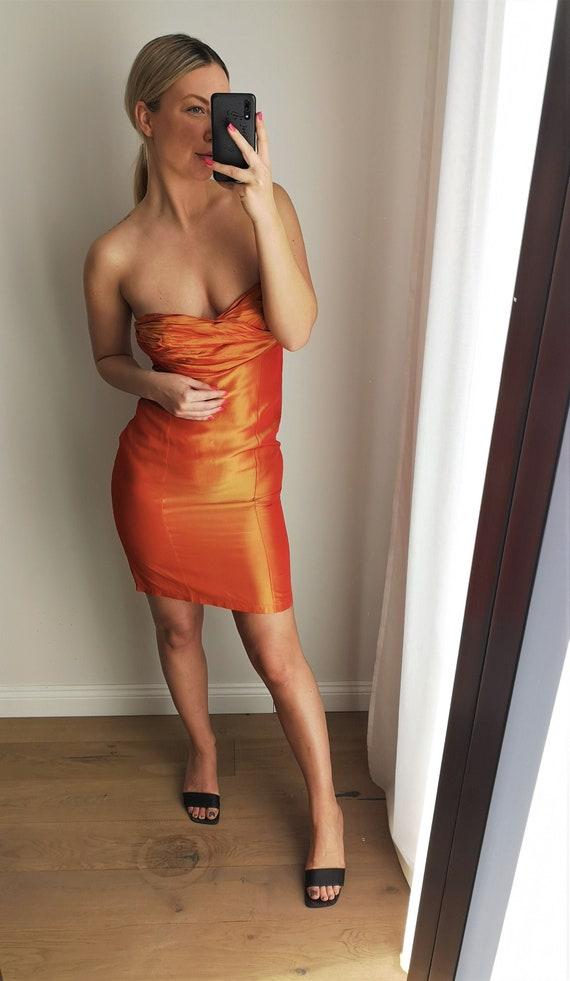 KENZO Sleeveless Dress / Orange Party Dress / Off