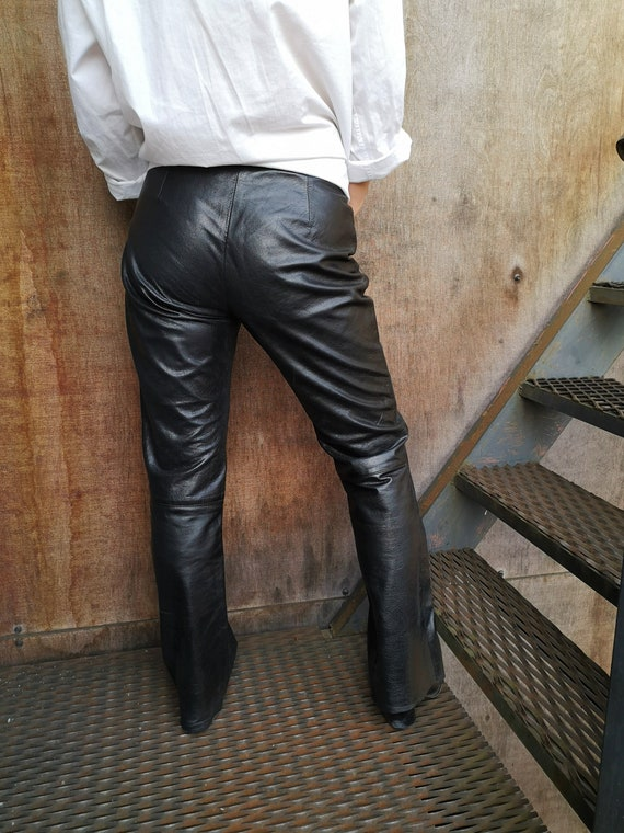 90's Leather Pants / Real Leather Pants / Black L… - image 4