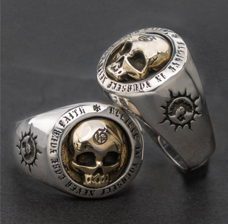 Silver Skull Ring Men Women Sterling Silver Biker Gothic image 0