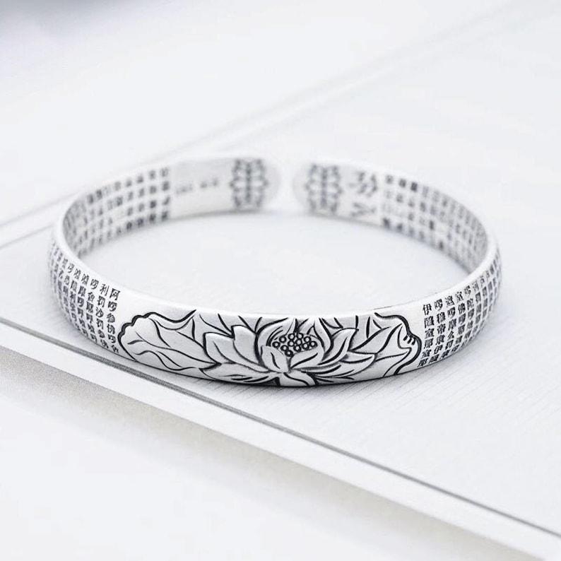 Sterling silver lotus bracelet Lotus Cuff bracelet Sterling Silver Mantra Bracelet Meditation Bracelet