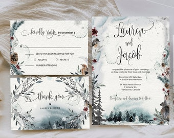 Winter wedding invitation, Christmas wedding invitation, winter mountain, snowy forest, blue forest, instant download, Winter Tale