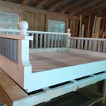 Twin Size New Orleans Step Down , custom tall back , Jacobean stain