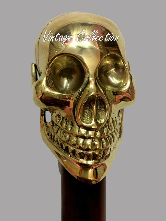 Shinny Brass Victorian Skull Handle Black Wooden Shaft Walking Stick Cane gift