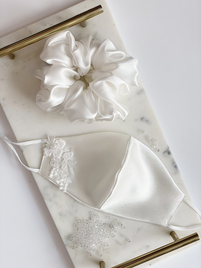 Bridal silk face mask, mulberry silk ivory face covering, embellished with lace and Swarovski crystals