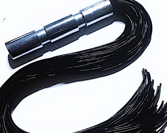 Flogger Black rubber falls chrome plated metal handle Impact Play BDSM Gear Spanking