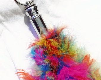 Rainbow feather sensory sensation play flogger knob handle teaser tickler  impact play bdsm