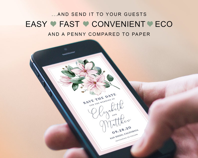 Floral Bouquet Save The Date Modern Classic Pink Magnolia Wedding Smartphone Save The Date iPhone Digital Wedding Save The Date Template