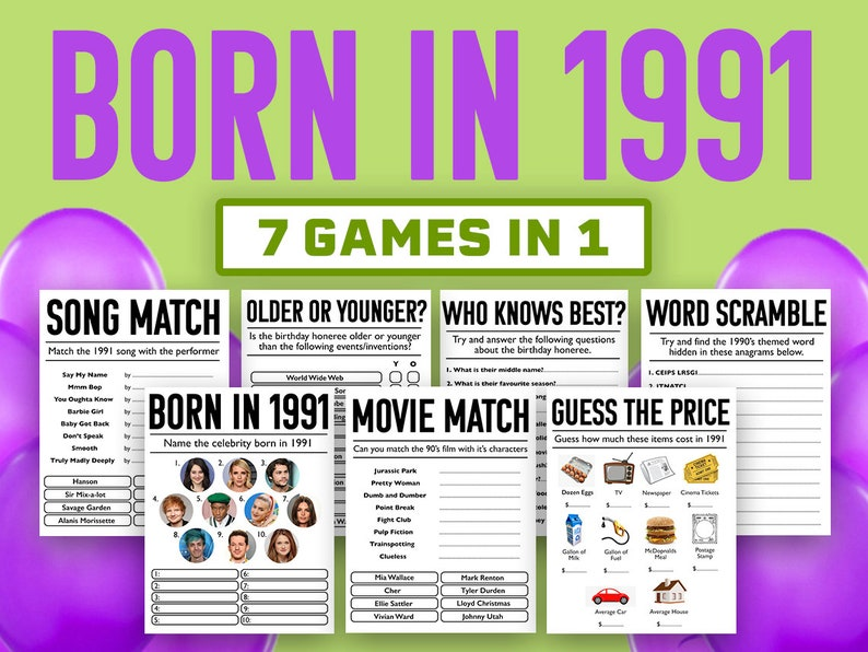 30th Birthday Party Games  Born In 1991 Games Bundle  image 0