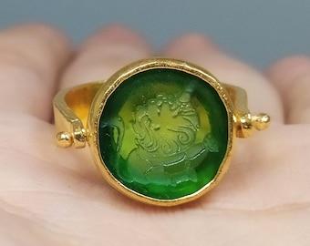 Intaglio Glass Lion Signet Silver Ring   Intaglio Art Glass Ring Zodiac Lion Ring   Leo Intaglio Glass Ring   Gold Signet Ring   Artsmyrna