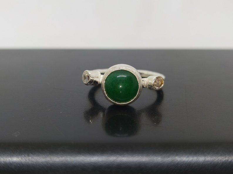 Authentic Silver Jewelry Handmade Dainty Jewelry By Artsmyrna Jade Ring Solid Sterling Personalized Gift Jade Solitaire Ring