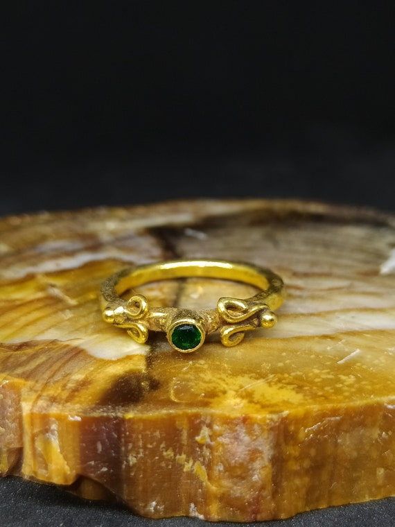 By Artsmyrna Statement Ring Dainty Ring Bridesmaid Gift Emerald Ring Solid Sterling Minimalist Ring Stacking Emerald Ring