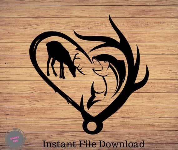 Download Hunting And Fishing Heart Fishing Svg Fishing Cut File Etsy