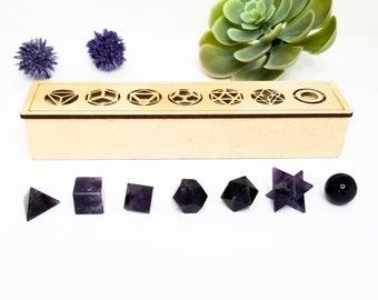 7pcs Reiki Healing Chakra Amethyst Platonic Solid Crystal Sacred Geometry Set-CA