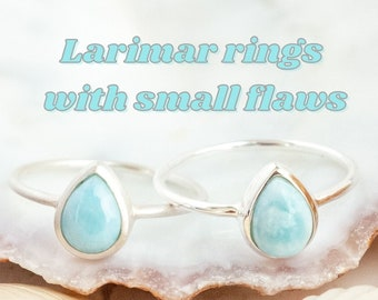 2nd Choice Larimar Ring, Flawed Boho Rings Sterling Silver, Recycled Silver, Drop Shape Gemstone Ring with Flaws, Surfer Ring for Women
