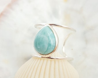 Larimar Ring Sterling Silver, Adjustable Double Ring, Recycled Silver, Drop Shape Gemstone Ring, Pear Shape, Surfer Jewelry, Gift for Her