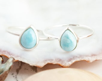Larimar Ring, Boho Rings Sterling Silver, Recycled Silver, Drop Shape Gemstone Ring, Dainty Stacking Ring, Pear Shape, Surfer Ring for Women