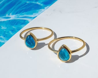 Apatite Ring Gold, Boho Rings, Recycled Silver, Rain Drop Shape Gemstone Ring, Dainty Stacking Ring, Pear Shape, Surfer Ring for Women
