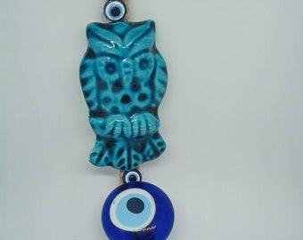 Fukorodani inspired owl and evil eye earrings
