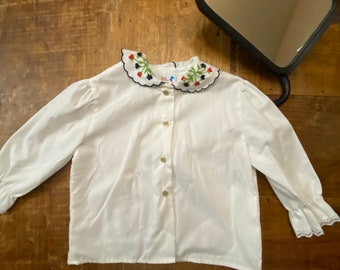 Girl's White Blouse with Embroidered Collar