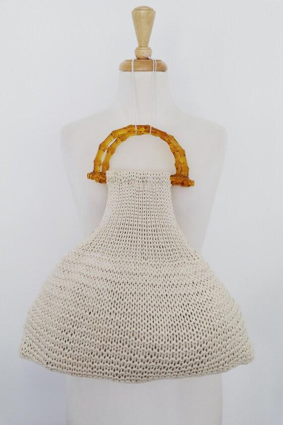 Vintage Crochet Macrame Yarn Shopping Tote Handbag