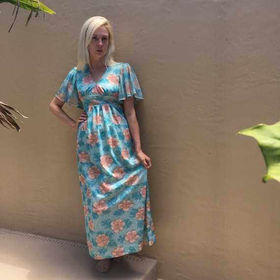 70's Floral Empire Waist Dress