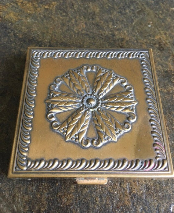 40s Volupte Art Deco Brass Compact