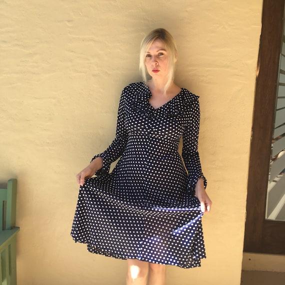 60s/70s Polka Dot Empire waist dress