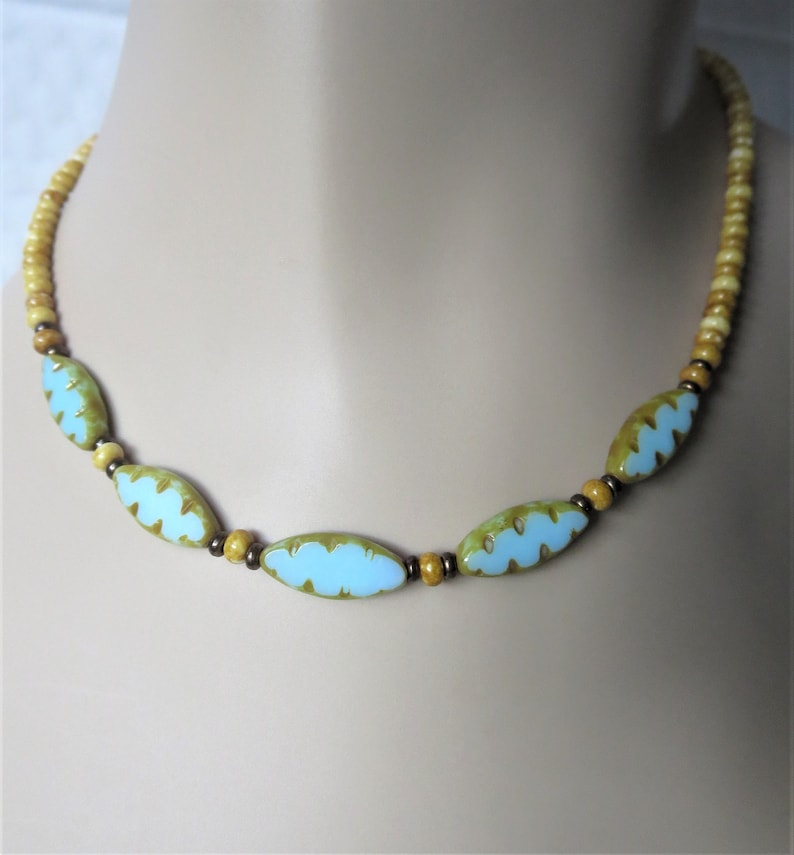 Blue Sky and Sandy Beach Beaded Necklace