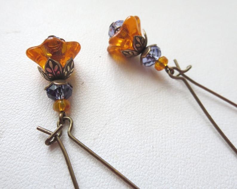 Orange Bell Flower Earrings Long or Short Earwires