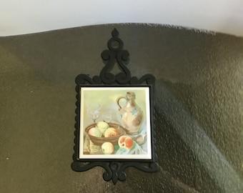 Vintage Cast Metal and Ceramic Trivet or Wall Hanging