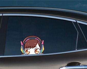 Teary D.VA Peeker Peeking Window Vinyl Decal Anime Sticker Overwatch Game