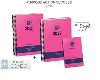 COMBO 4 & 12 Month Planners   Sep-Dec'21 and Jan-Dec'22 + FREE Notebook   Daily Diaries 24-Hour Time Slots   PAS Purpose Action Success Set