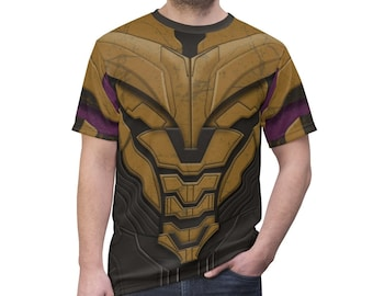 RECYCLED UPCYCLED Halter top dress Tailored Made from  licensed Marvel Thanos Infinity  Endgame Gauntlet mens shirt Choose size