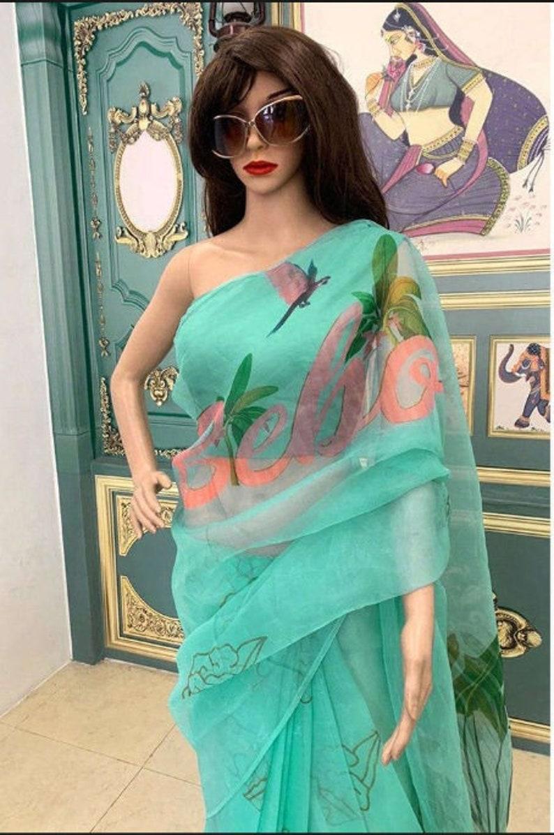 Kareena Kapoor Designer Green Bebo Printed Organza Saree