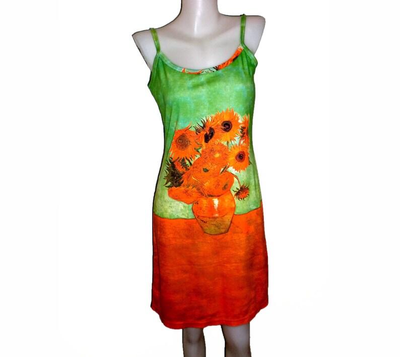 D2D Vincent Van Gogh Sunfowers Flower Modern Fine Art Print Sundress Tank Apparel Gift Idea