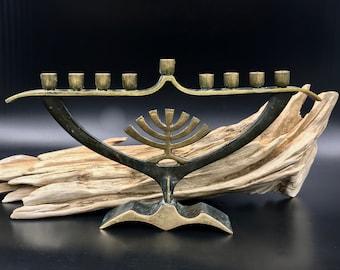 VTG Brass Hanukkah Menorah Made in Israel, Vintage Hanukkah, Vintage Judaica