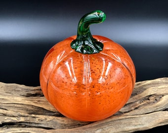 Petite Pumpkin Signed Studio Art Glass Figurine Paperweight