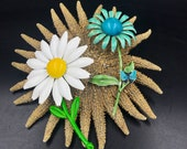 VTG 1970s Lot of 2 BIG Enamel Flower Brooches - One Made By Weiss - Big Daisy Enamel Flower Brooch