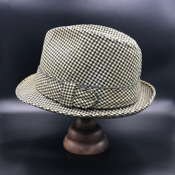 Vintage 1960s DOBBS Black & White Check Tweed Mens