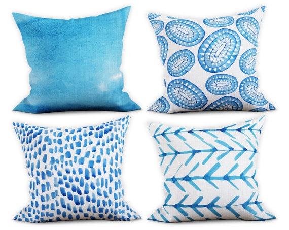 Indigo Throw Pillows Sky Blue Pillow