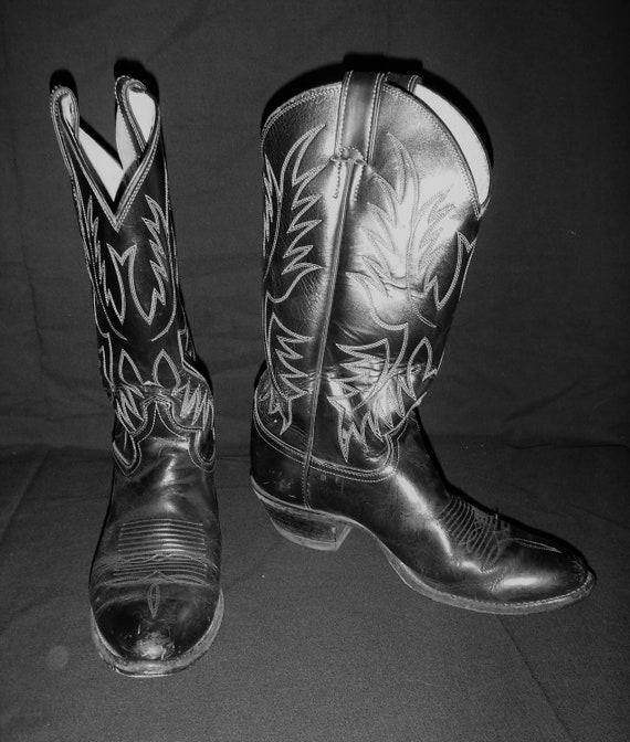 Vintage Men's Justin Cowboy Boots 7E Black With W… - image 2