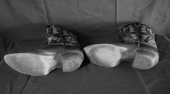 Vintage Men's Justin Cowboy Boots 7E Black With W… - image 4