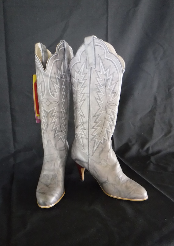 80's Grey Stiletto Western Boots NOS Women's Size